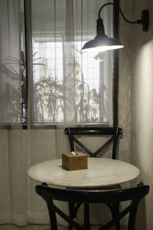 Miniaml style coffee shop furniture, stock photo