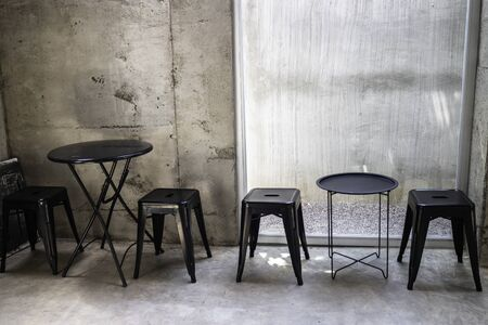 Minimal styled furniture set in the coffee shop, stock photo