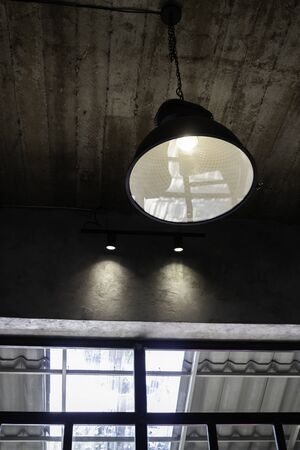 Modern ceiling lamps decorated in coffee shop, stock photo 스톡 콘텐츠