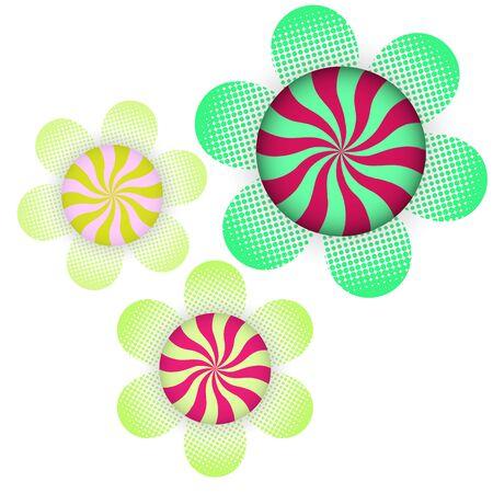 Created swirl on flower halftone background, stock vector