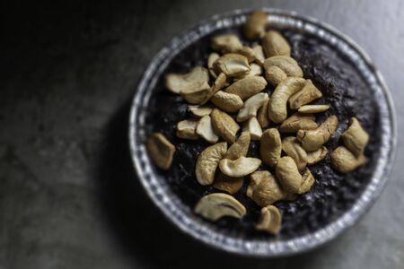 Homemade chocolate brownies with cashew nut, stock photo