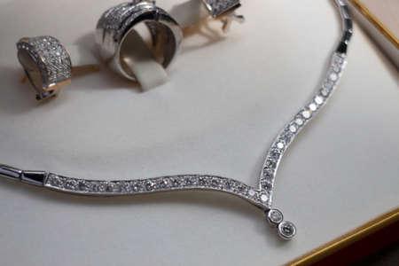 Fine luxury diamond jewellery set, stock photo
