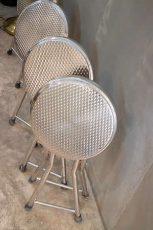 Stack chairs stainless in store, stock photo Фото со стока