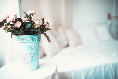 decoration objects: Natural flowers bouquet and decoration objects in the house Stock Photo