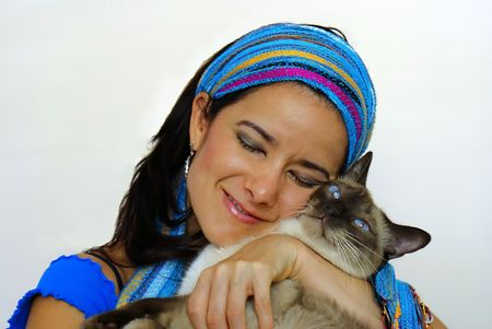 dearly: Woman Dearly Holding Siamese Cat