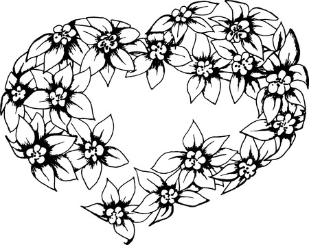 heart flowers Vector