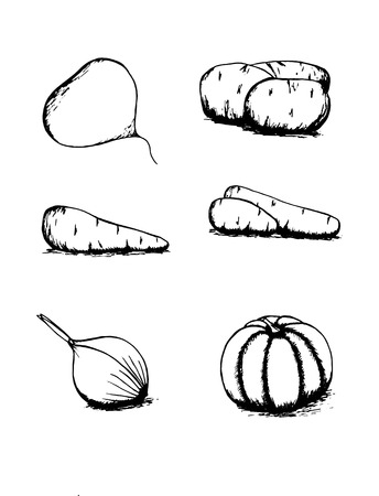 vegetables food black and white Vector