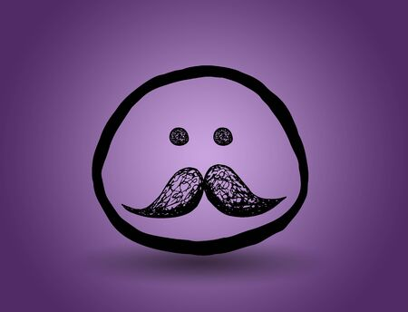 feeling good: vintage face with a mustache. vector on a purple background