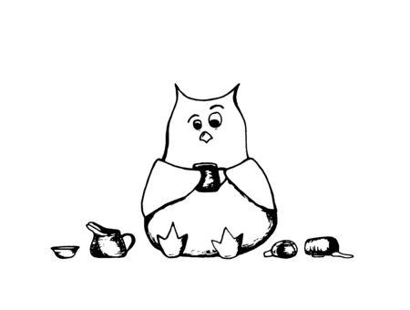 coffee cup owl Vector