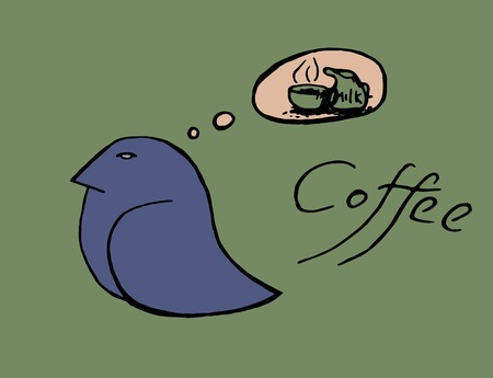 break in: coffee cup birds