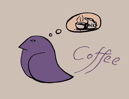 コーヒーカップ: コーヒーのカップの鳥