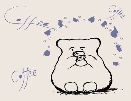 bear and coffee Vector