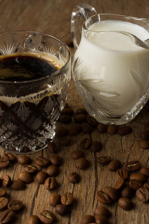 expresso: grain cup coffee and milk