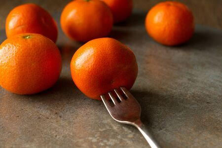 foodies: Mandarin orange in the picture. canvas, painted blue red