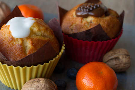 foodies: chocolate and vanilla Lemon muffins with tangerines and walnuts