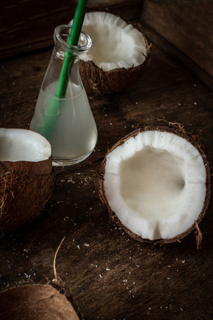 fruits in water: the broken coconut. delicious fruit for Indian food Stock Photo
