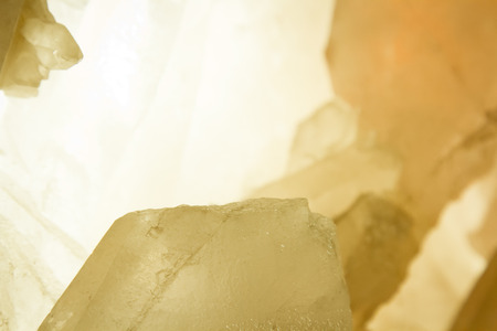 mineralogy: a piece of crystal illuminated by the warm light