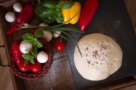 food pizza tomato mushrooms onion pepper photo
