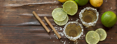 alcoholic drink: tequila and lime Lemon and as a cigarillo