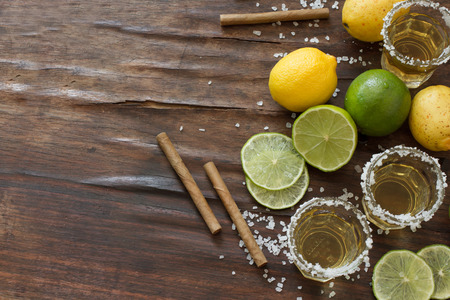 tequila and lime Lemon and as a cigarillo