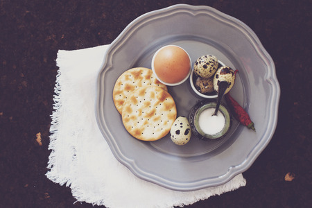 chicken and quail eggs. Easter breakfast