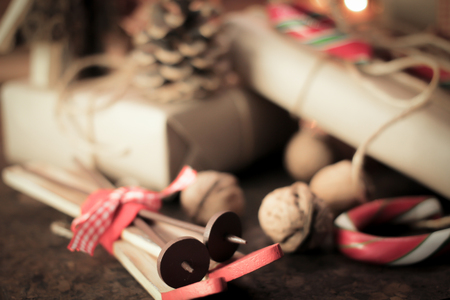 candy stick: Christmas present with candy stick