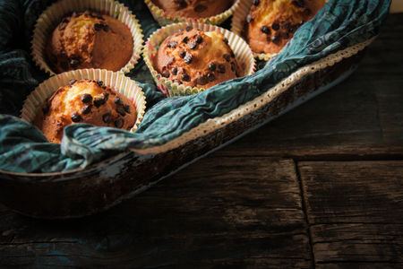 eat healthy: delicious lemon muffins with tea and coffee romantic mood Stock Photo