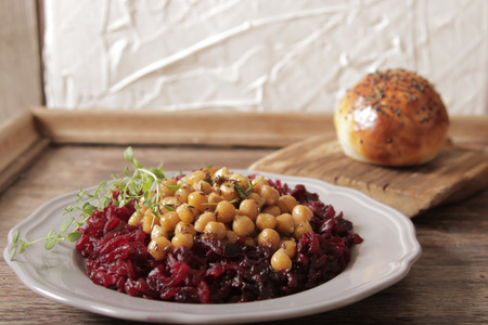 light breakfast: A light breakfast of beets and chickpeas