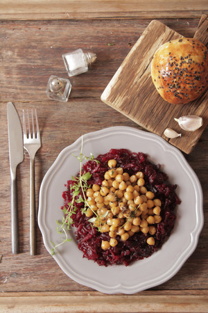 garbanzo bean: A light breakfast of beets and chickpeas