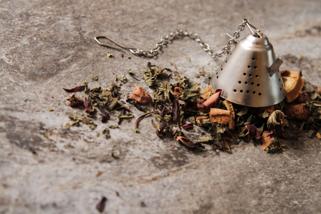 crumbly: crumbly mixture of tea from India and Italy, the idea of breakfast Stock Photo
