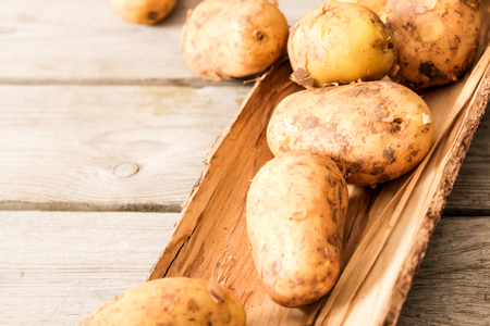 potatoes just vykapannaya from the ground on a wooden background