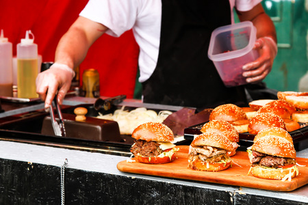 street food. burger with salad and meat