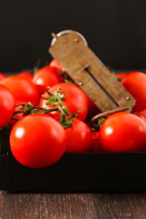 half  cut: Fresh tomatoes, whole and half cut, isolated on dark background