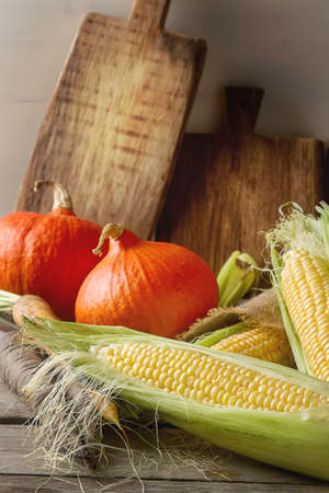 yellow corn: Ripe yellow corn and a pumpkin colored carrots on sackcloth. Wooden background. Stock Photo