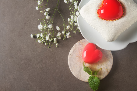 Delightful, luxury, romantic mousse cake in the form heart. Valentines Day on February 14.