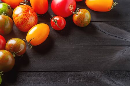 Colorful ripe tomatoes. Delicious vegetarian food. Dark background