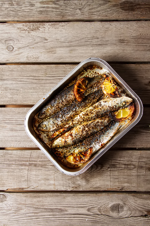 Cornish sardines. For grill and BBG. Dark background