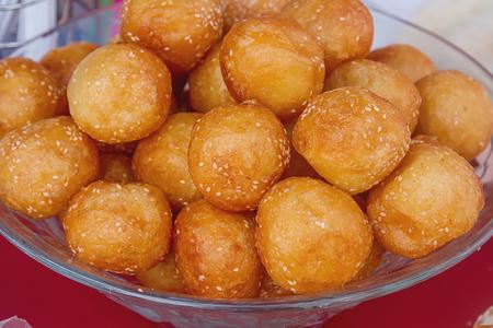 marinara sauce: Homemade pancake balls (cinnamon recipe) deep fried - by dropping spoonfuls of batter into fryer