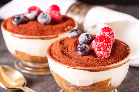mascarpone: Italian traditional dessert tiramisu. Dark background Stock Photo