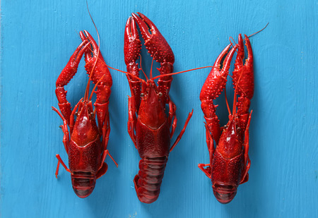 Delicious boiled crayfish close-up. Dark background. Dinner with seafood Stock Photo