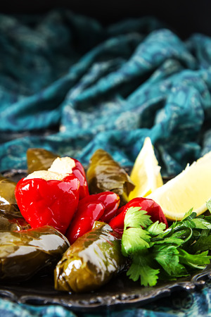 Stuffed leaves of Dolma grapes, rice and meat with sour cream, cheese peppers stuffed with cheese. Traditional Mediterranean cuisine. Dark background