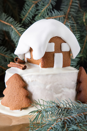 New Year cake with Christmas trees and gingerbread houses and cinnamon. Dark background
