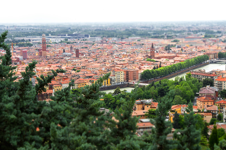 Image view of Verona, tourist center of Italy. Summer time