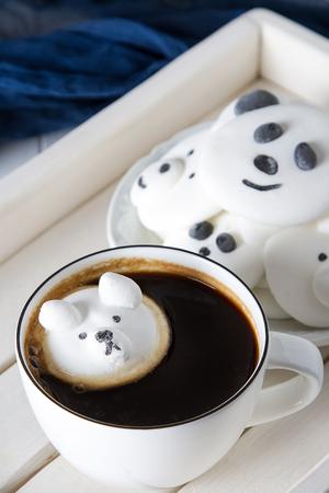 marshmallow in the form of bears. Sweets for children. Light background Standard-Bild