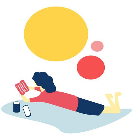 A Girl Reading in Vector Illustration