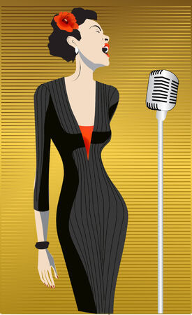 singer with microphone: singer Illustration
