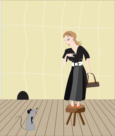 afraid: afraid of mice Illustration
