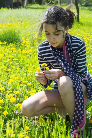 young girl in grass with blow ball Stock Photo