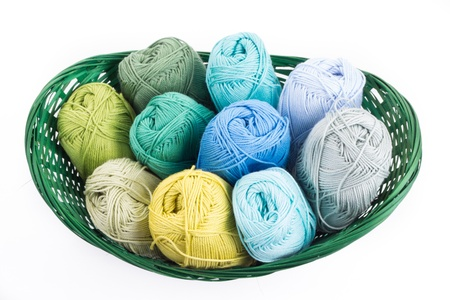 Colorful yarn balls in a straw basket isolated on white background photo