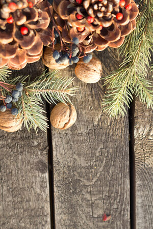 Christmas Decoration Over Wooden Background  Vintage photo